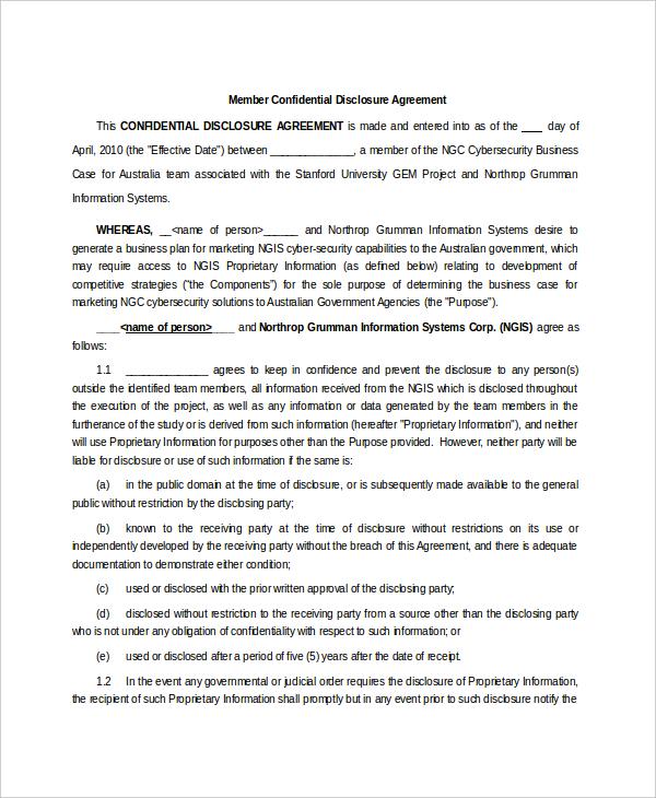 Member Confidential Disclosure Agreement Sample