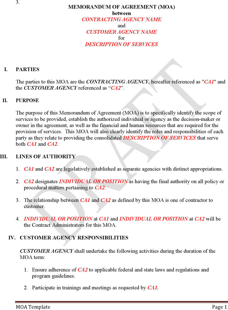 Moa Template 71681815 Template Non Disclosure Agreement 12 Best