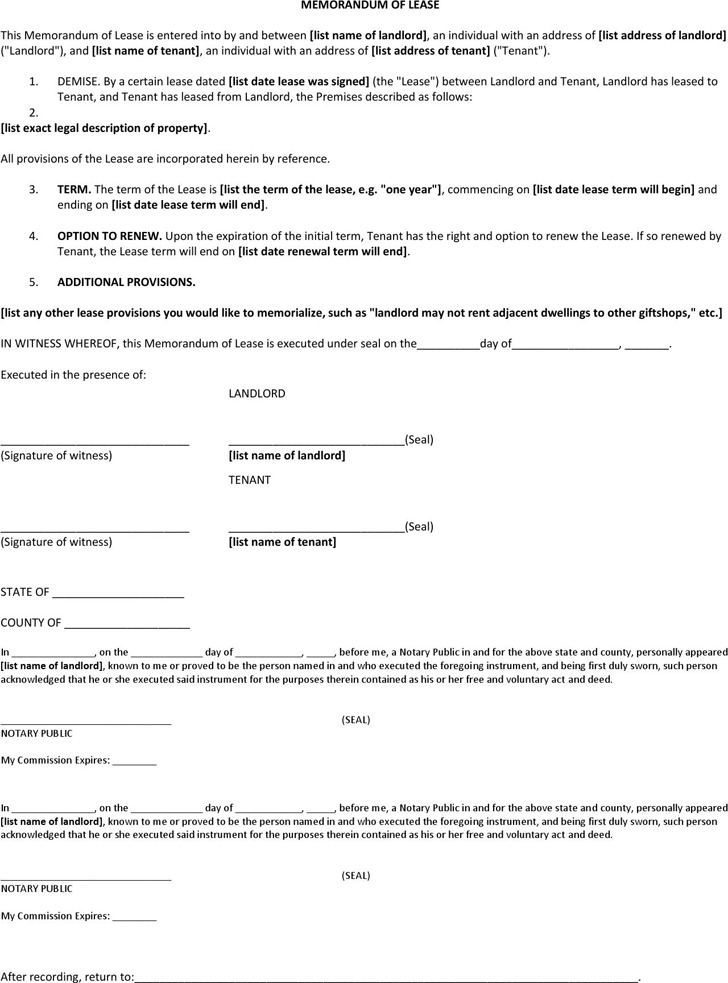 Memorandum Of Lease Agreement  Download Free  Premium Templates