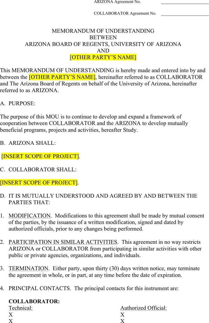 Memorandum of understanding template download free for Template for a memorandum of understanding