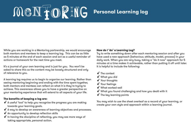 Mentoring Personal Learning Log Template