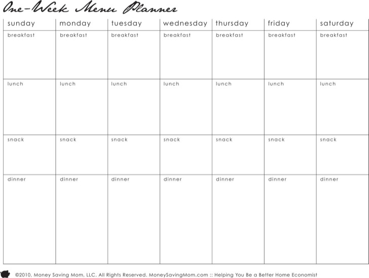 Menu Planner Template  Daily Menu Planner Template