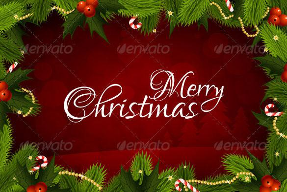 Merry Christmas Greeting Message Card EPS Format