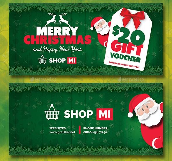 Christmas Gift Card Template PSD Design
