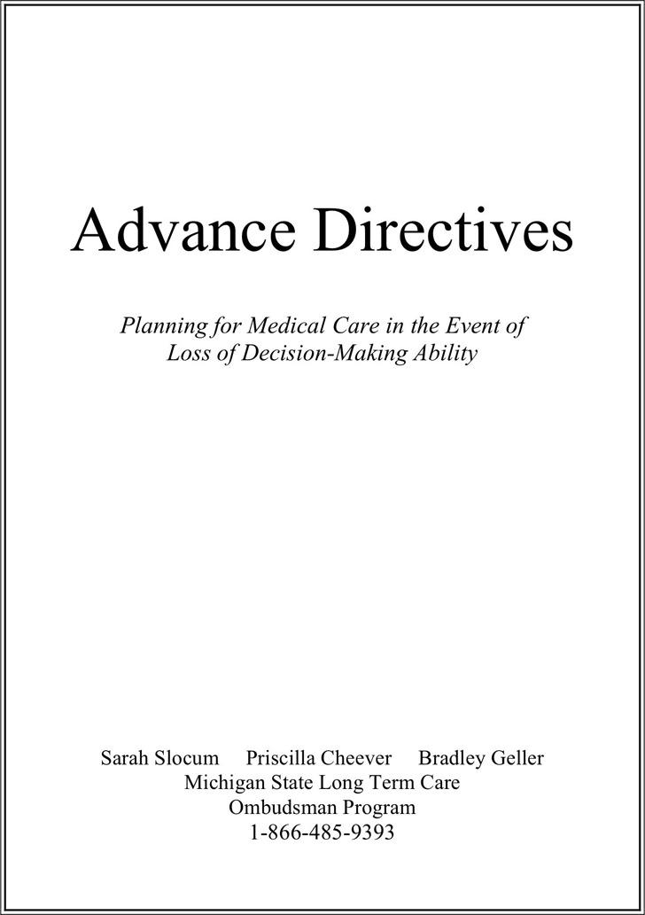 Michigan Advance Directive Form 1