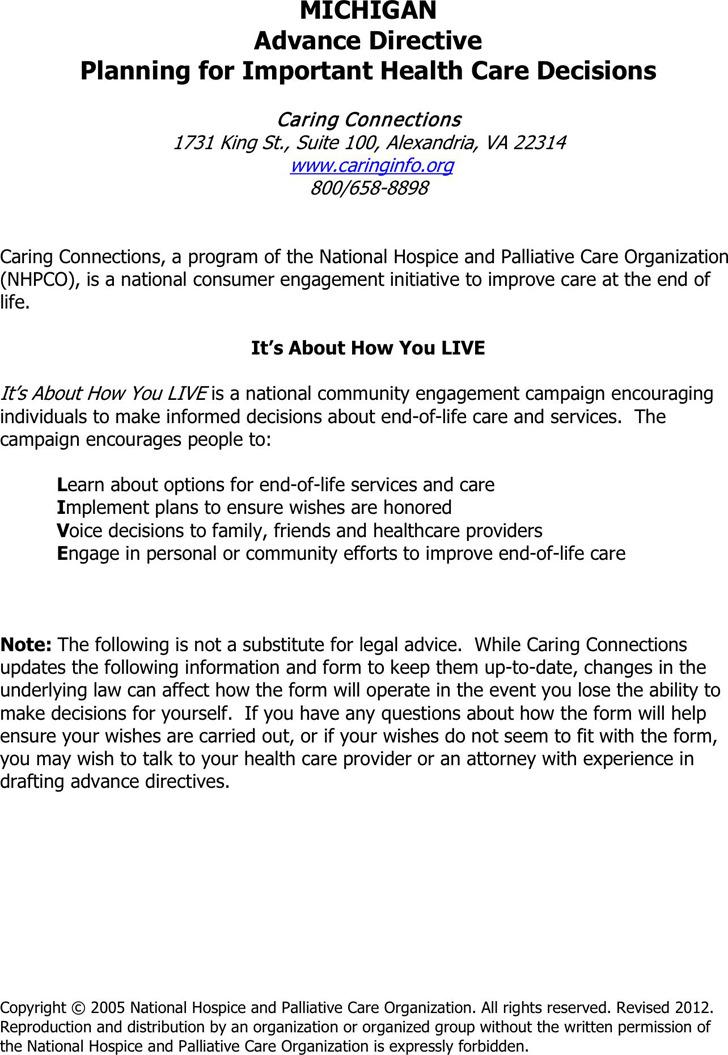 Michigan Advance Health Care Directive Form
