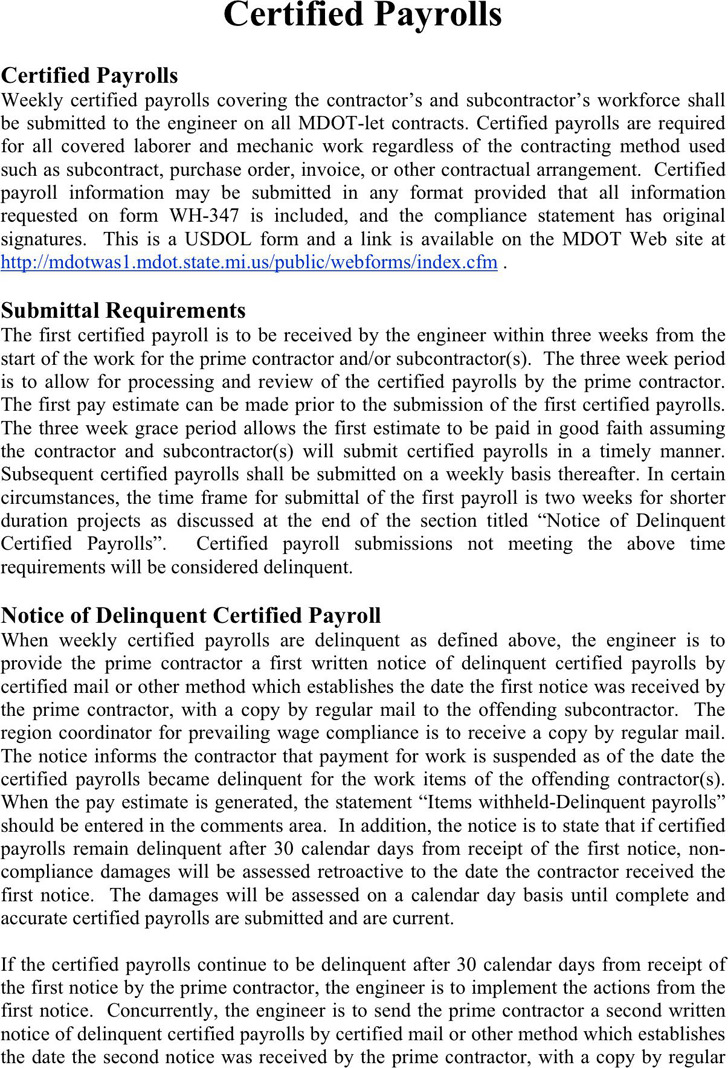 Michigan Certified Payroll Form