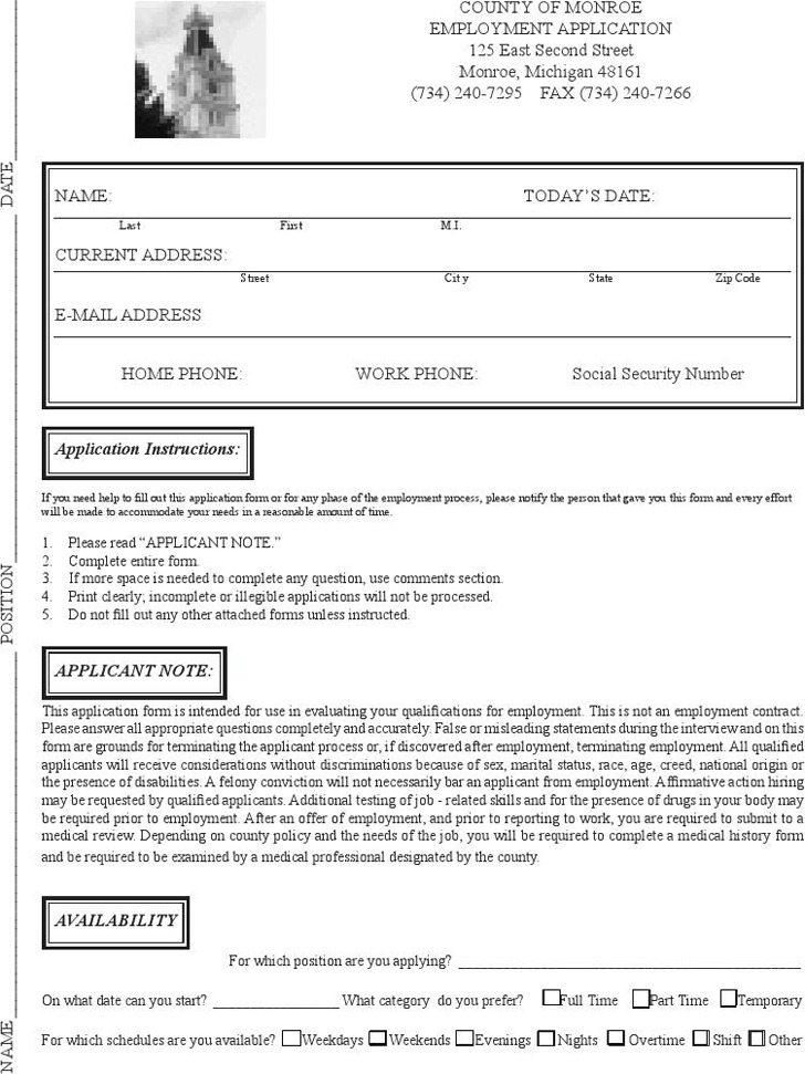 Michigan County of Monroe Employment Application