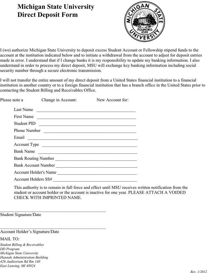 Michigan Direct Deposit Form 3