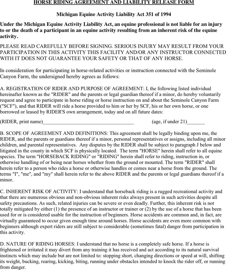Michigan Liability Release Form 1