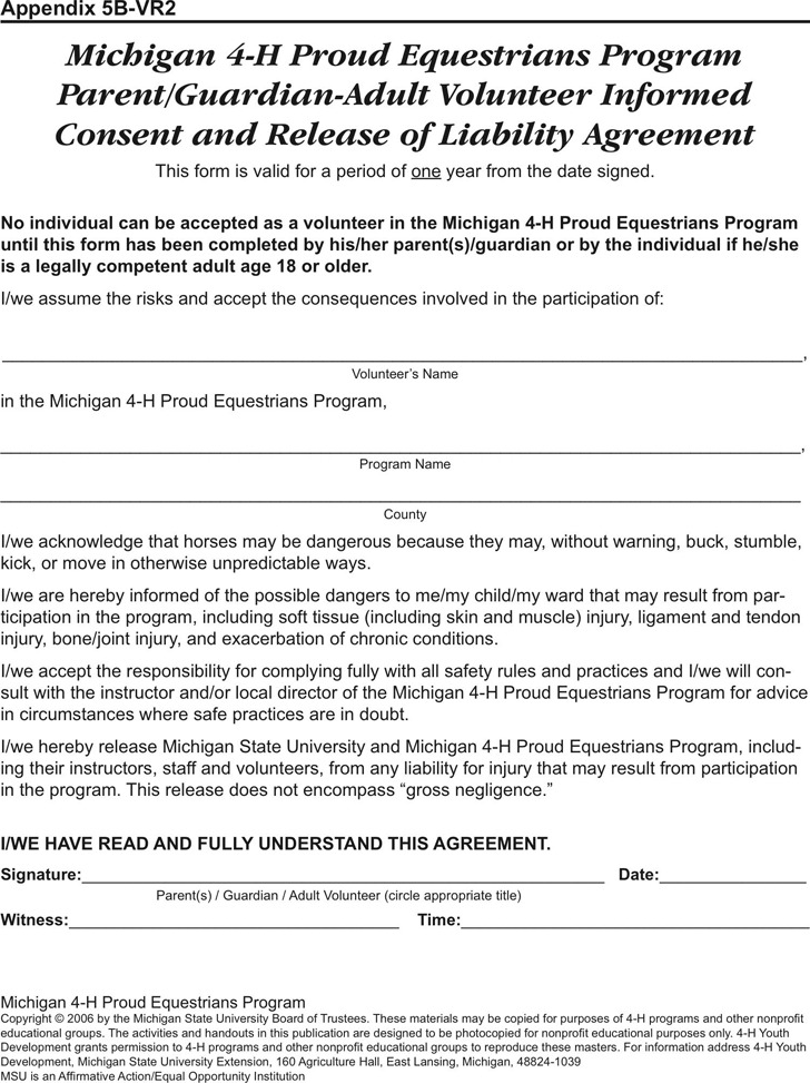 Michigan Liability Release Form 2