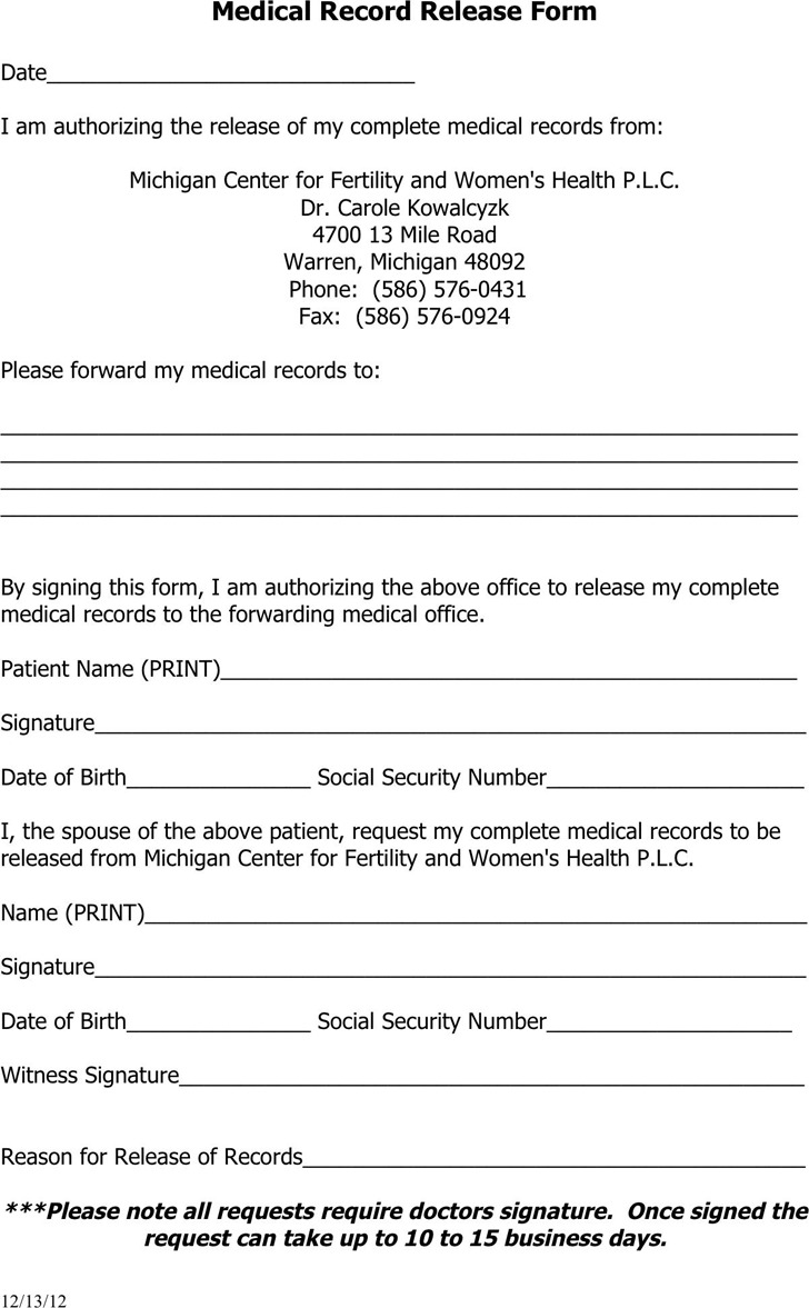 Michigan Medical Records Release Form 2
