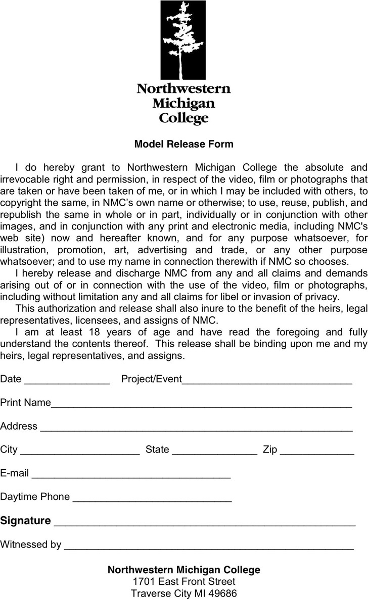 Michigan Model Release Form 2