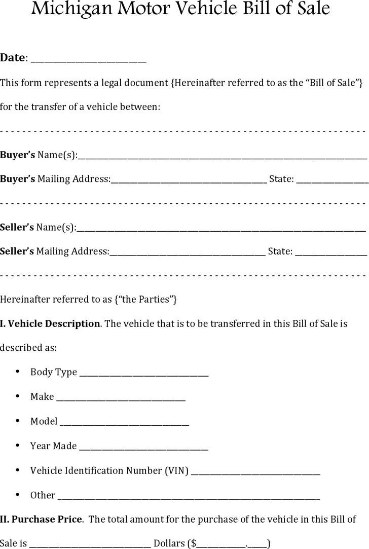 Michigan Motor Vehicle Bill of Sale
