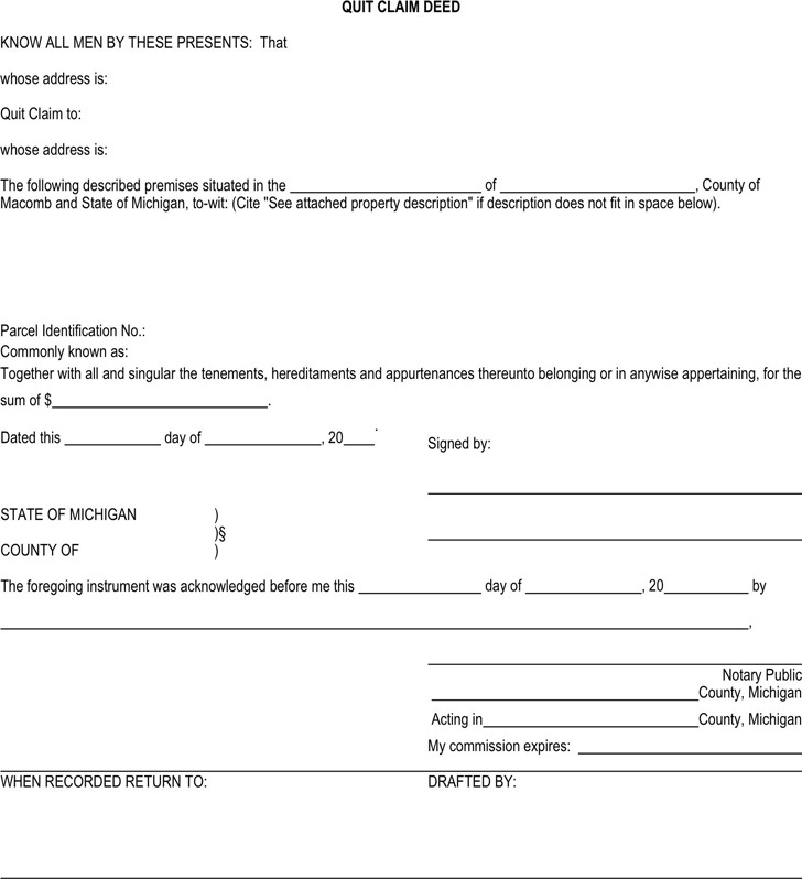 Michigan Quitclaim Deed Form | Download Free & Premium Templates