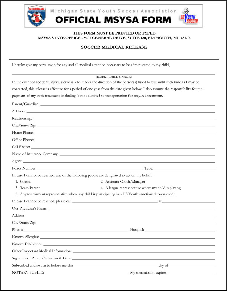 Michigan Soccer Medical Release Form