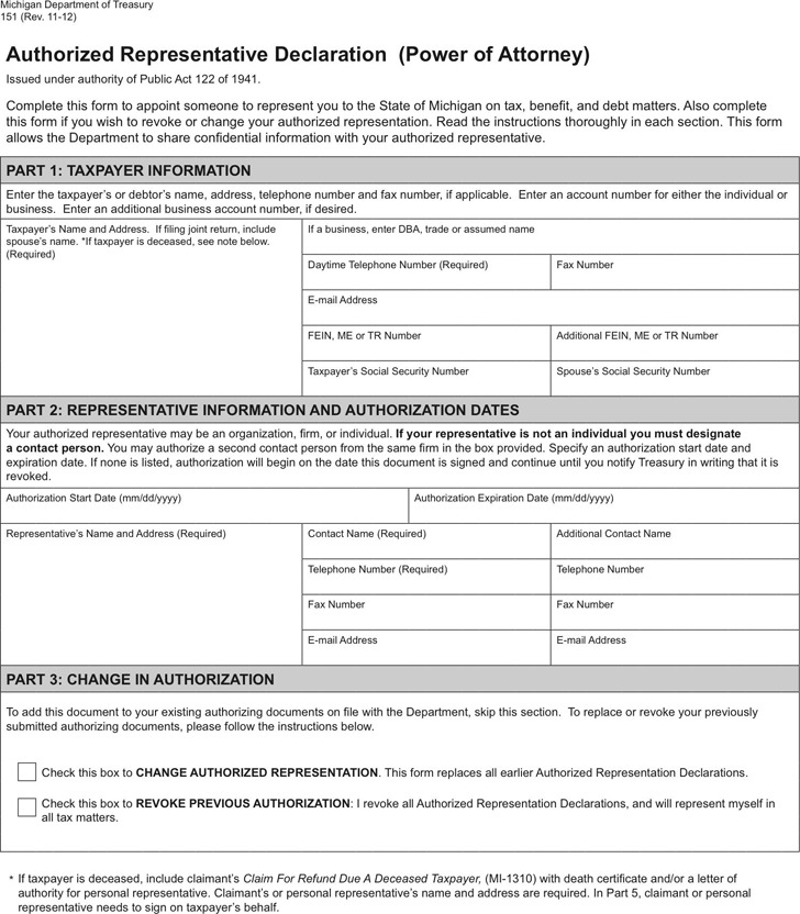 Michigan Tax Power of Attorney Form