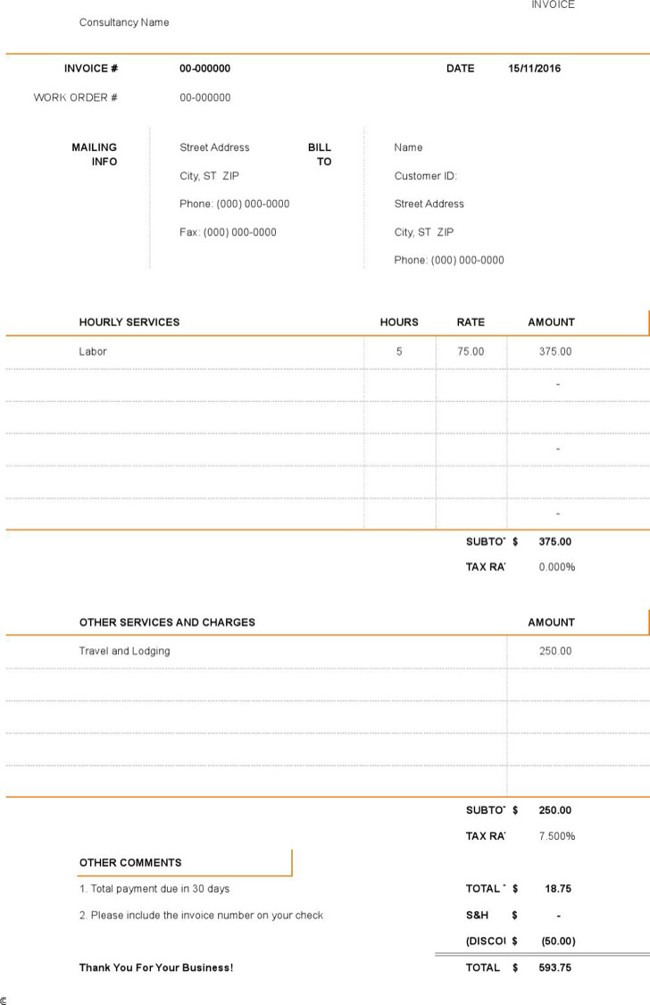 Microsoft Consultant Invoice Xls Format Free Template