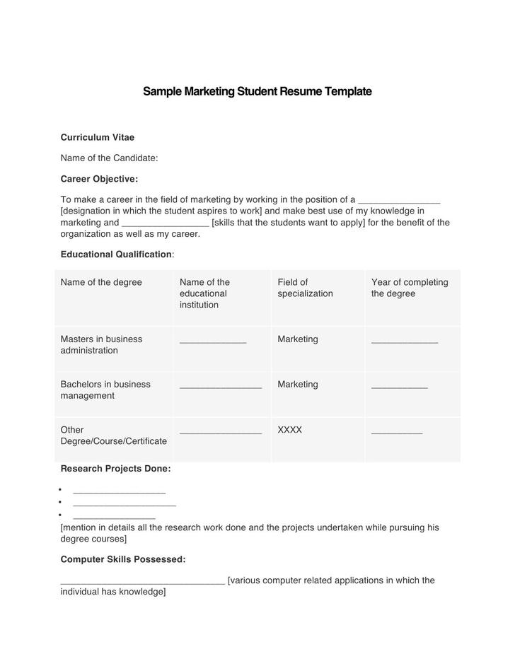 Microsoft Marketing Student Resume Template Example
