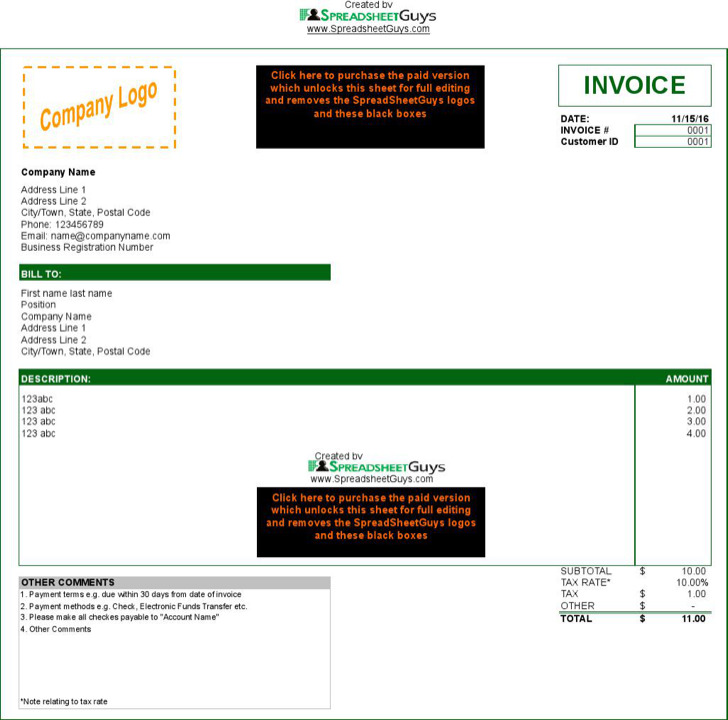 Microsoft Tax Invoice Template In Excel