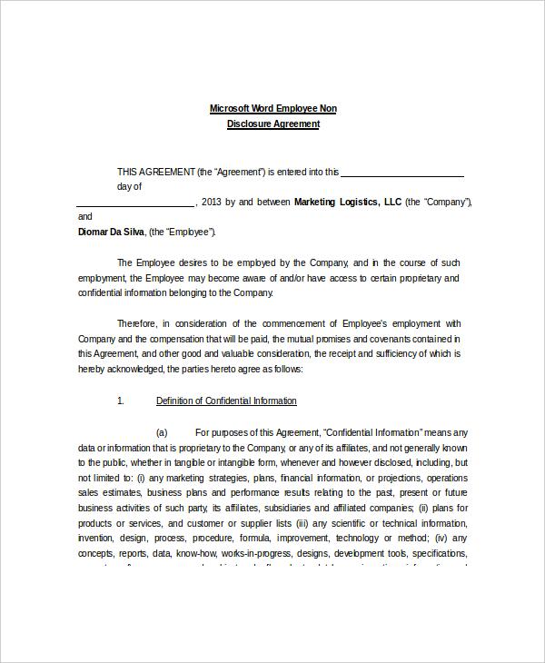 Microsoft Word Employee Non Disclosure Agreement Sample