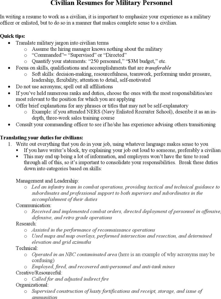 military personal resume