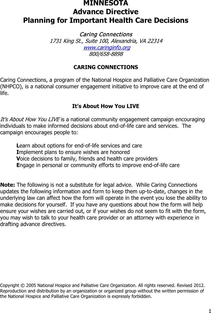 Minnesota Advance Health Care Directive Form 1
