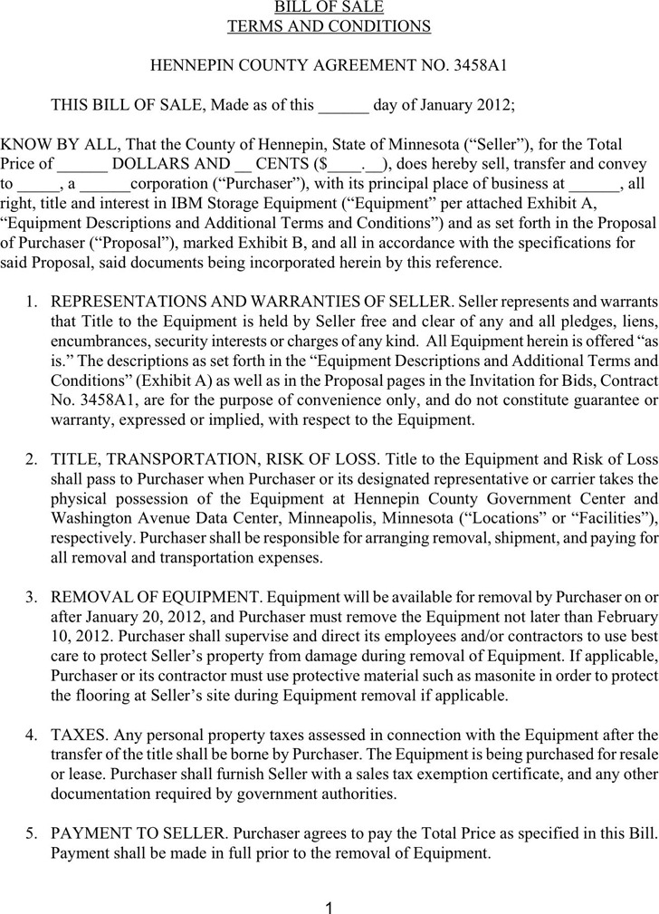 Minnesota Bill of Sale Form For IBM Storage Equipment