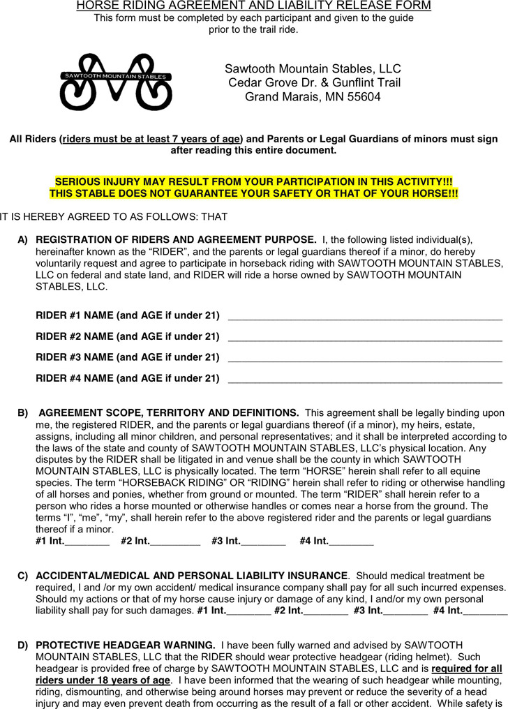 Minnesota Horse Riding Agreement And Liability Release Form