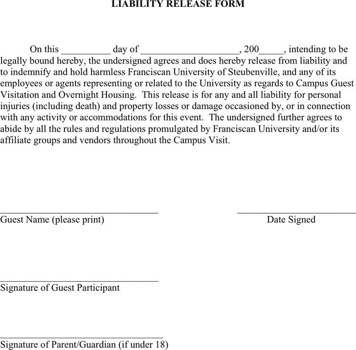 Minnesota Liability Release Form