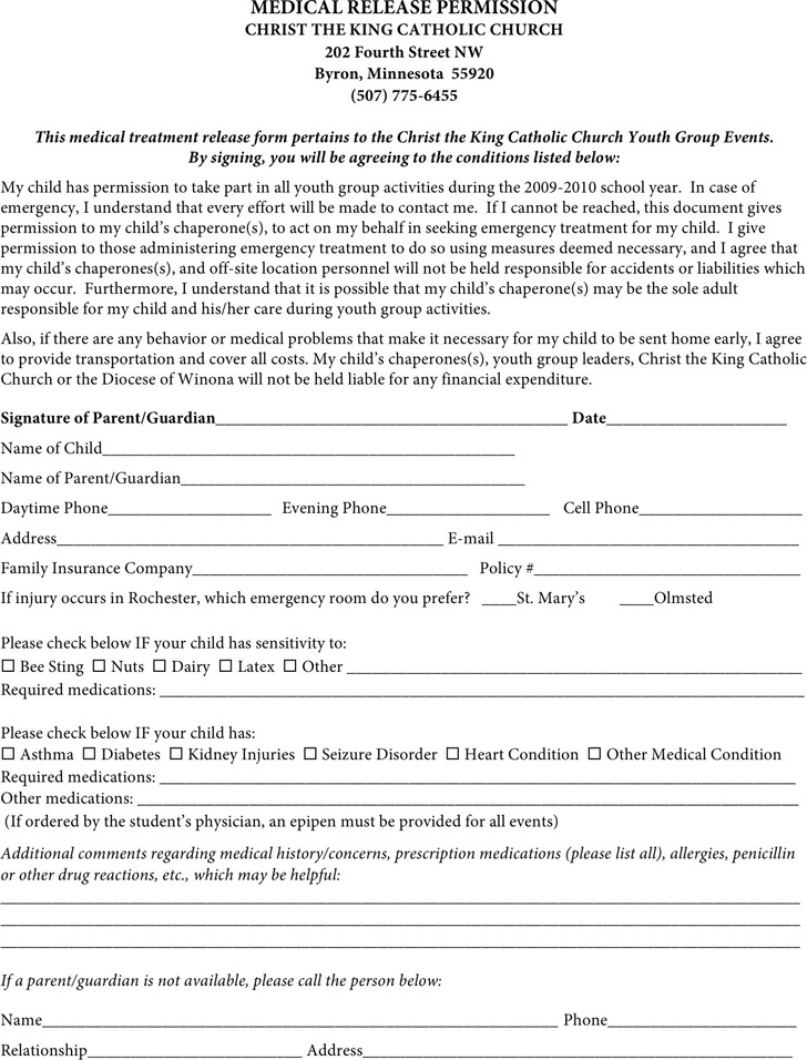 Minnesota Medical Release Form 2