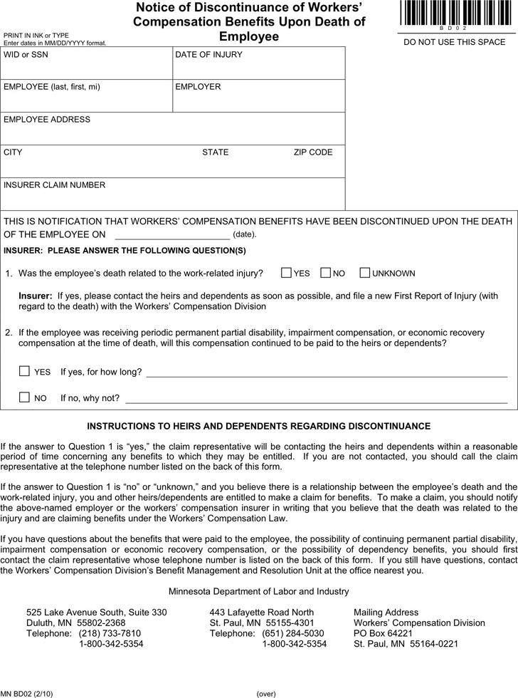 Minnesota Notice of Discontinuance of Workers' Compensation Benefits Upon Death of Employee