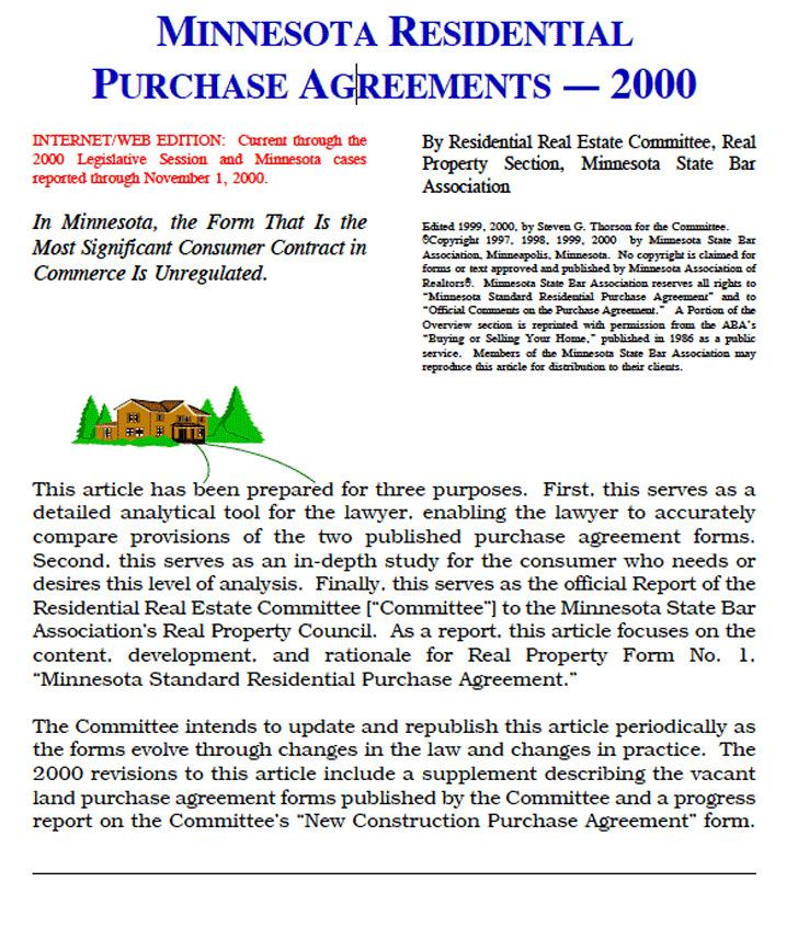 Minnesota Residential Purchase Agreements Sample