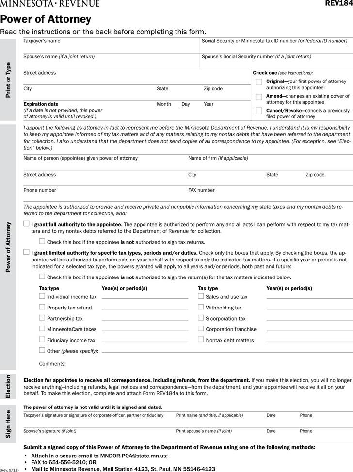 Minnesota Tax Power of Attorney Form