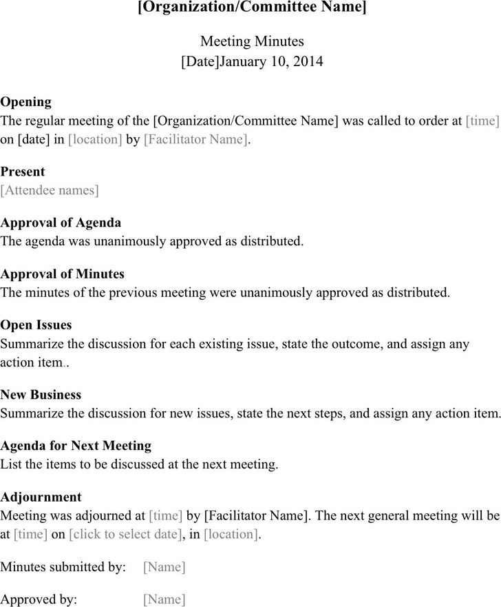 Meeting Minutes Template – Minutes Format for Meeting