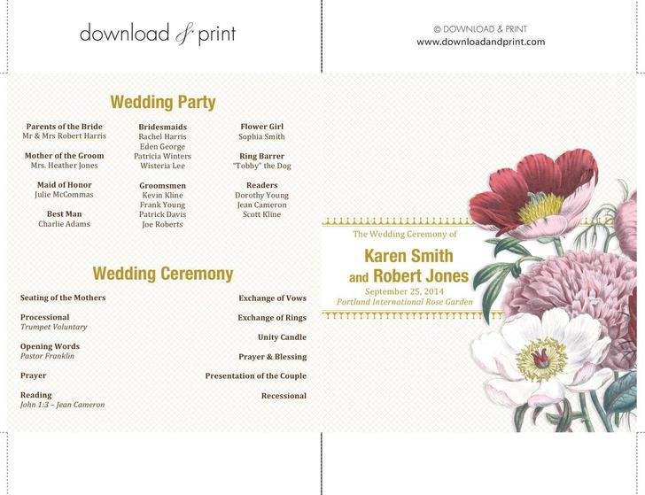 Modern Double Sided Ceremony Wedding Programs Download