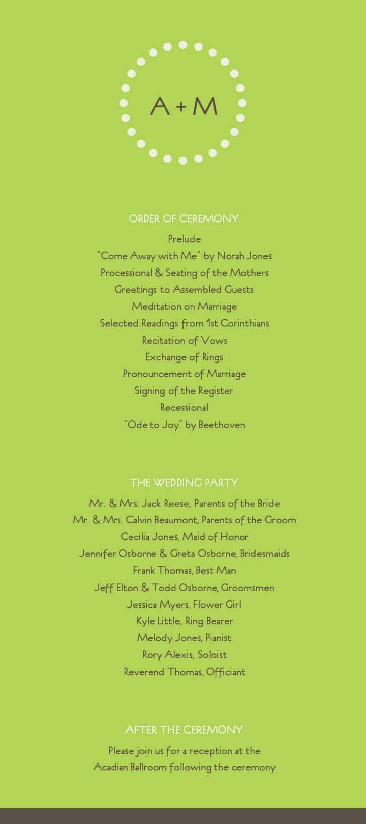 Free Modern Green Wedding Program Template Online Editable
