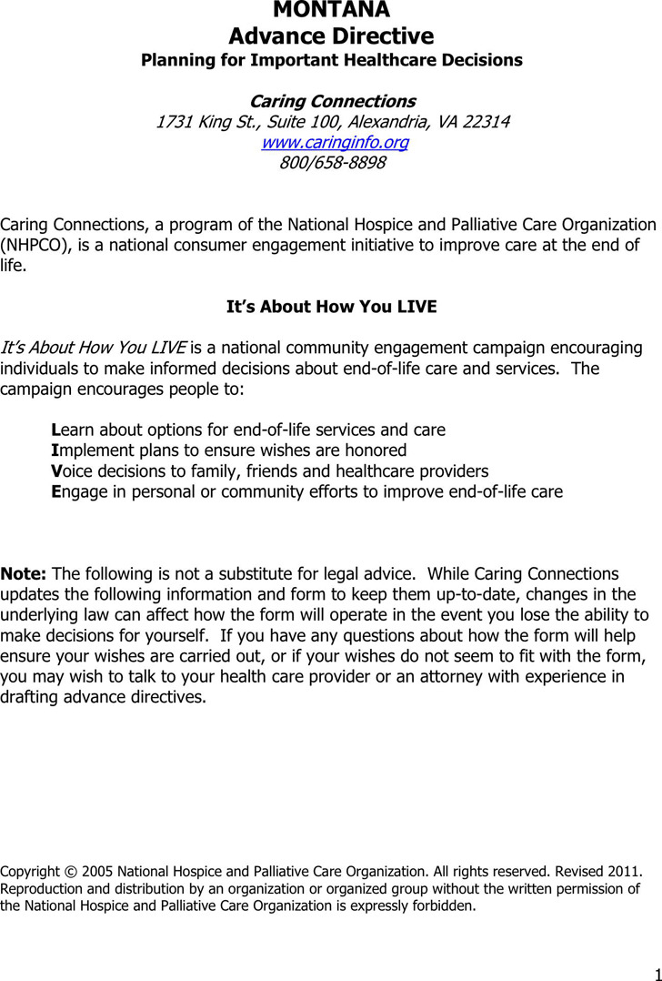 Montana Advance Health Care Directive Form 1