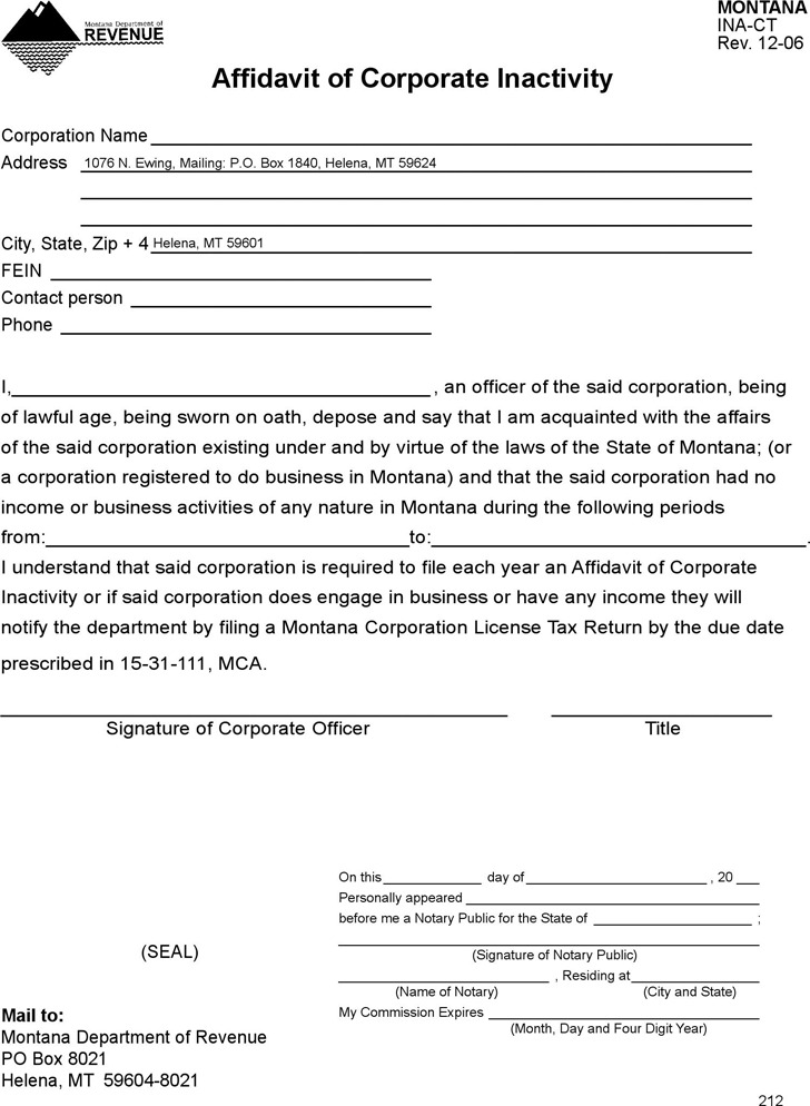 Montana Affidavit of Corporate Inactivity Form