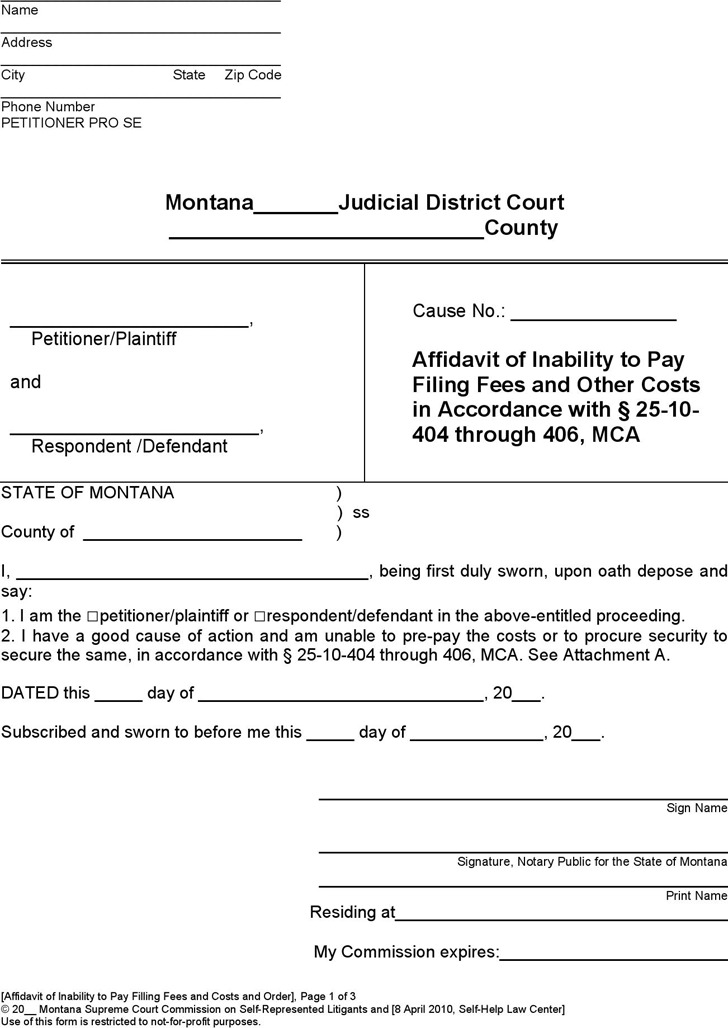Montana Affidavit of Inability to Pay Form