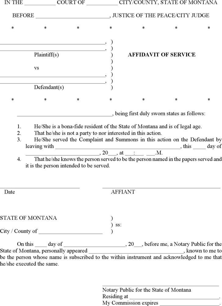 Montana Affidavit of Service Form