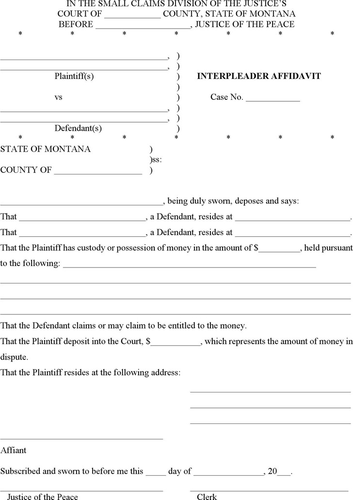 Montana Interpleader Affidavit Form