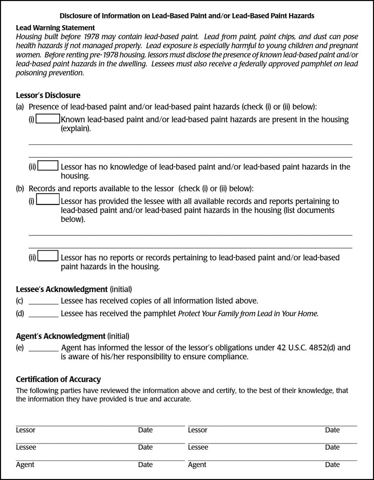 Montana Lead Based Paint Disclosure Form