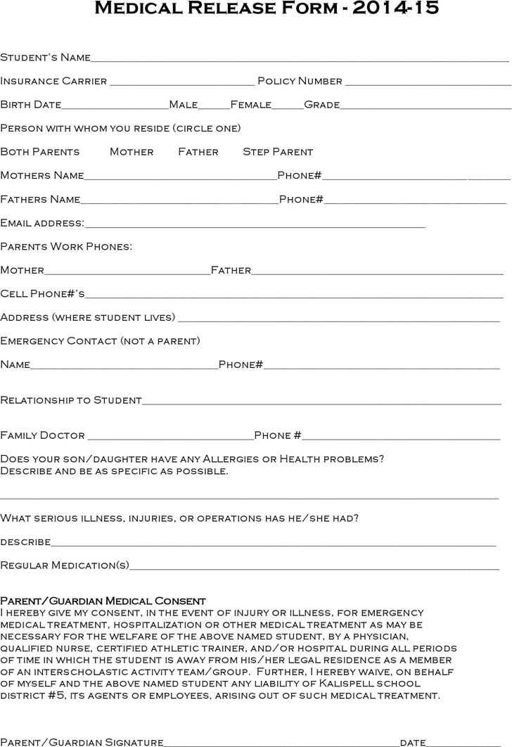 Montana Medical Release Form - 2014-15