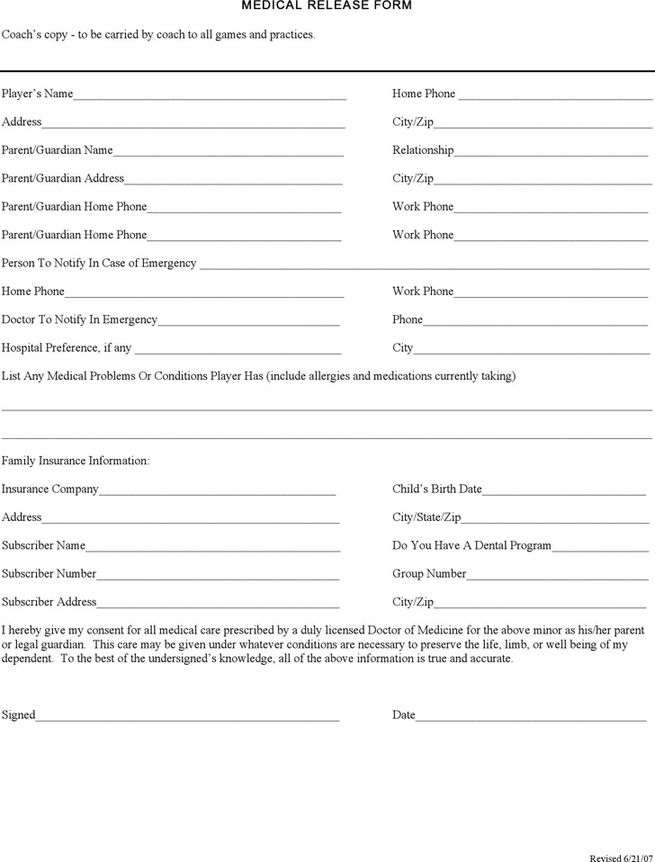 Montana Medical Release Form