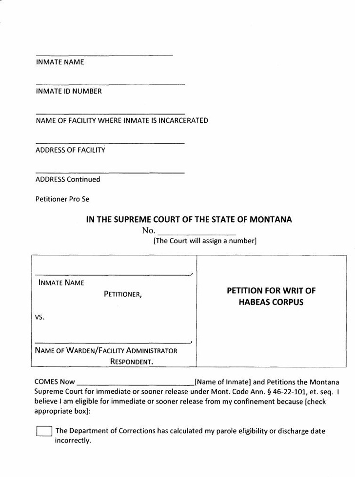 Montana Petition for Writ of Habeas Corpus
