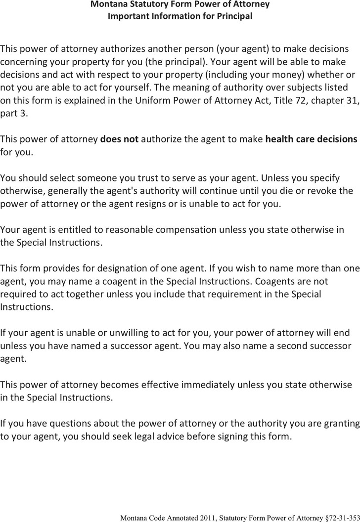 Montana Statutory Power of Attorney Form