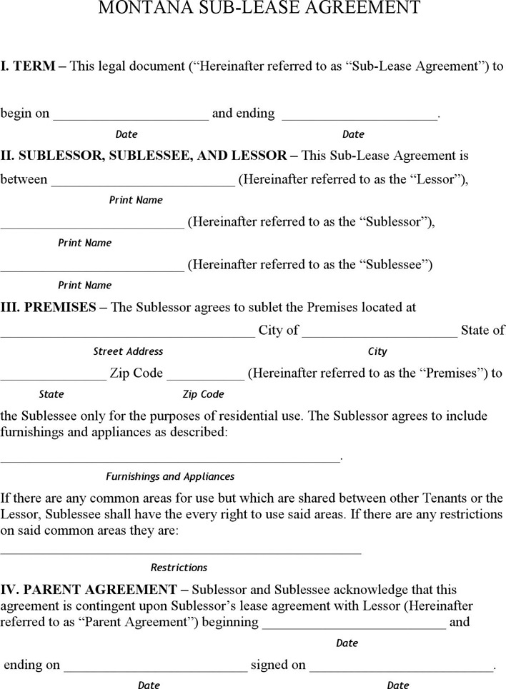 Montana Sublease Agreement Form