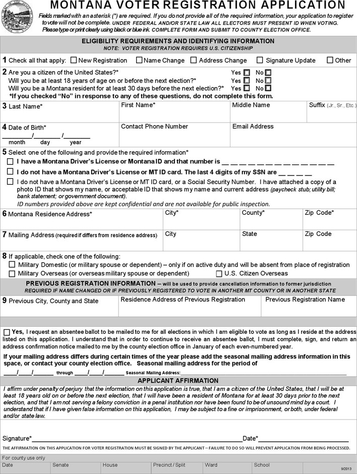 Montana Voter Registration Application