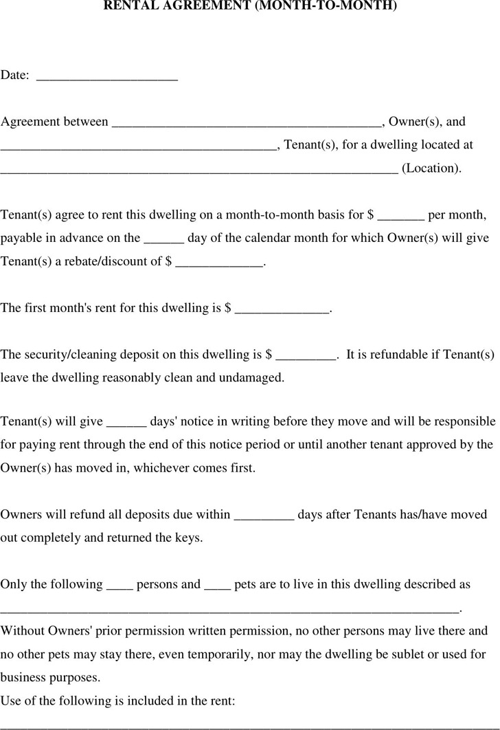 Month to Month Rental Agreement 1